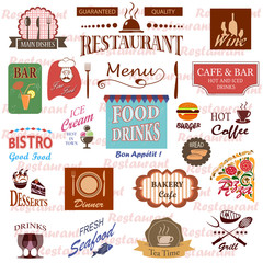 Set of food and drink labels, icons for restaurant and cafe