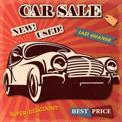 Car sale retro poster