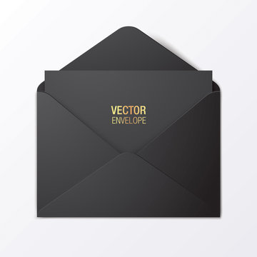 Black vector envelope template. Black opened envelope lying on a red background. Realistic mockup.