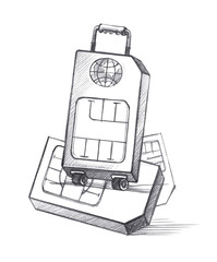 SIM-card in the form of a suitcase on wheels as a symbol of distant travels