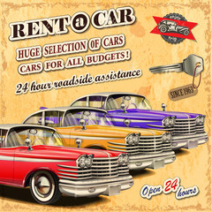 Rent a car retro poster