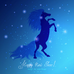 Abstract vector background. Rearing horse and sparks. Image can be used for New Year's designs. Beautiful hand-lettering - Happy new year!