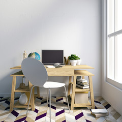 Modern light interior, a place for study, consisting of working Desk, lamp, monitor. 3D illustration. wall mock up