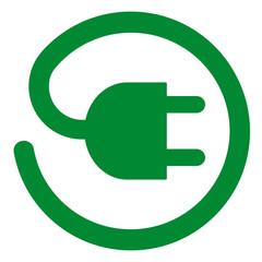 lgd6 LogoGraphicDesign - Elektrostecker Symbol mit Ladekabel im Kreis - grün xxl g5319