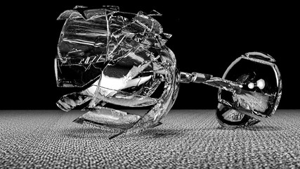 3d render of breaking glass falling to the floor in monochrome