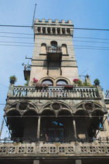 Facade of residential building with a beautiful balcony in the center of Lviv