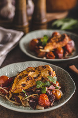 Grilled chicken steak with roasted vegetable