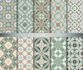 Ten seamless patterns in Oriental style. Eastern ornaments for design fabric, wrapping paper or scrapbooking. Vector illustration in orange and green colors.