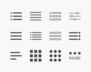 Simple Set of Hamburger Menu Thin Line Icons. Editable Stroke. 64 x 64 Pixel Perfect.