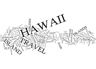 FLY TO HAWAII Text Background Word Cloud Concept