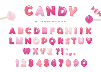 Candy glossy font design. Colorful pink ABC letters and numbers. Sweets for girls.