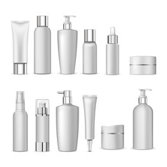 3d white realistic cosmetic package icon set empty tubes on white background vector illustration