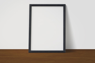 White poster with black frame mockup