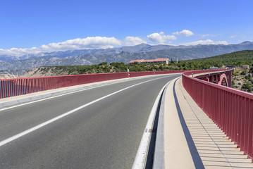 Red Maslenica Bridge in Croatia.