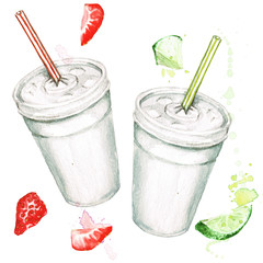 Plastic cups with juice. Watercolor Illustration.