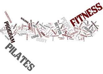 FITNESS AND PILATES Text Background Word Cloud Concept
