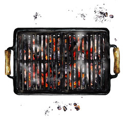 Charcoal Grill. Watercolor Illustration.
