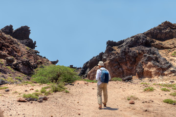 The tourist leaves on stuffed path, Hormuz Island, Hormozgan, Iran.