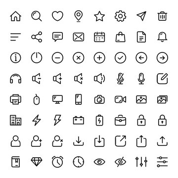 Basic icon set for web and mobile ui