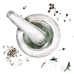 Mortar. Watercolor Illustration.