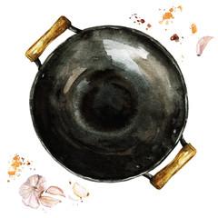 Pan. Watercolor Illustration.