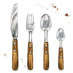 Cutlery. Watercolor Illustration.
