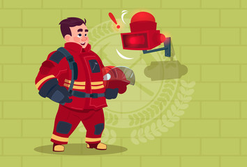 Fireman Hear Alarm Wearing Uniform Hold Helmet Ready Fire Fighter Stand Over Brick Background Flat Vector Illustration