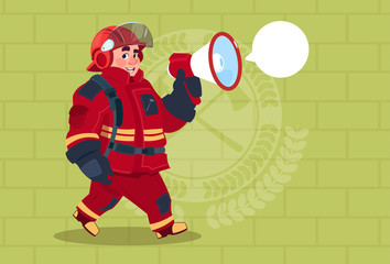 Fireman Speaking In Megaphone Wear Uniform And Helmet Adult Fire Fighter Over Brick Background Flat Vector Illustration