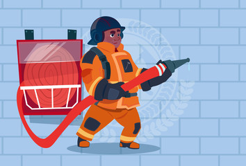 African American Fireman Hear Alarm Wearing Uniform Hold Helmet Ready Fire Fighter Stand Over Brick Background Flat Vector Illustration