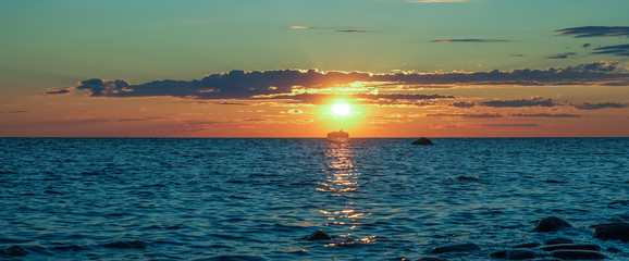 Bright sunset in the Baltic Sea