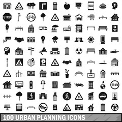 100 urban planning icons set, simple style