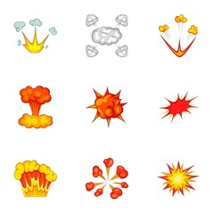 Animation explosion icons set, cartoon style