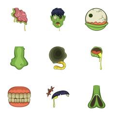 Zombie icons set, cartoon style
