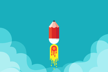 Business startup launch concept with pencil rocket. flat design. Vector illustration.