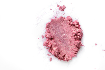 Crushed eye pink shadow isolated on white background