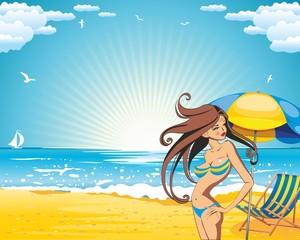 summer holidays background, Bikini-girl