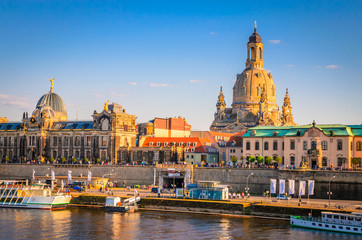 Summer view of the Old Town architecture with Elbe river in Dresden, Saxony, Germany