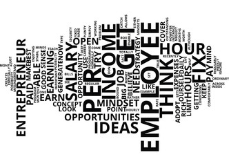 EMPLOYEE WITH ENTREPRENEUR MINDSETS Text Background Word Cloud Concept