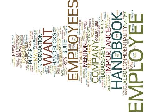 EMPLOYEE HANDBOOK Text Background Word Cloud Concept