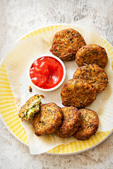 Courgette fritters with ricotta, mint and lemon
