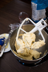 Mixing dough with ingredients
