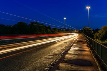 Traffic light trails on road, Bristol