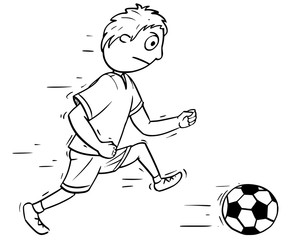 Cartoon Illustration of Boy Playing Football Soccer