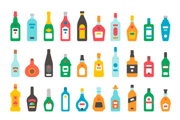 Flat design alcohol bottles set