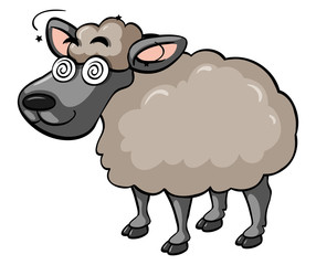 Sheep with dizzy face