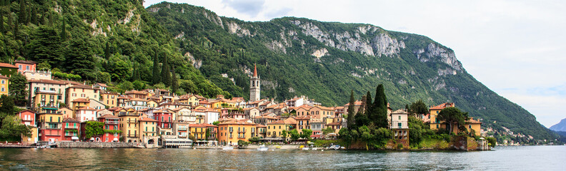 Classic Panorama view of beautiful Varenna Town, Lake Como, Lombardy, Italy, Europe.
