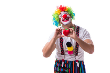 Funny clown with a heart isolated on white background