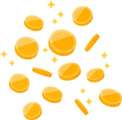 散らばる金色のコイン