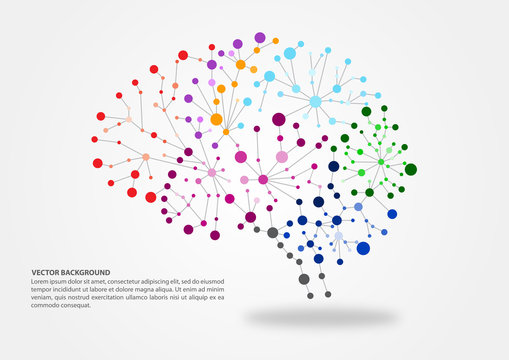 Colorful brain mapping concept in vector illustration