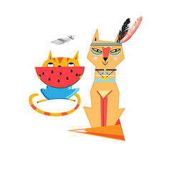 Vector funny cat and a fox isolated